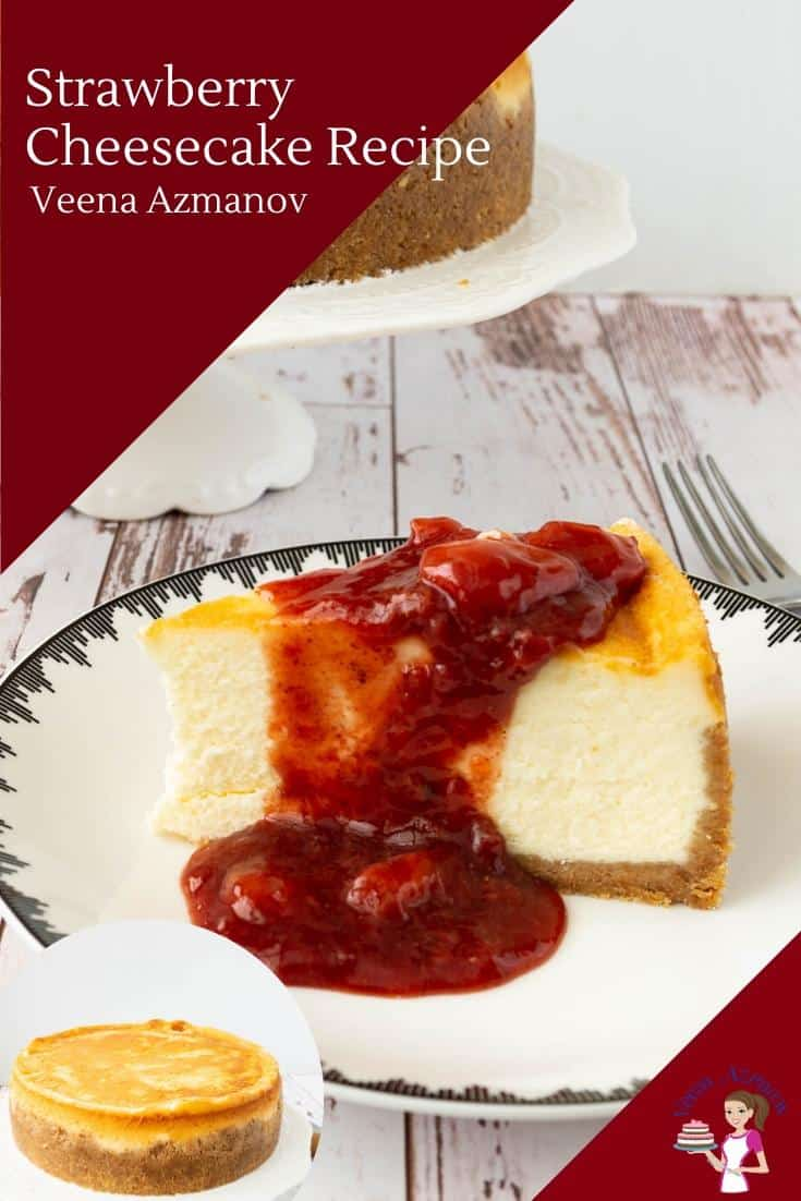 A slice of Cheesecake with strawberry sauce topping on a plate.
