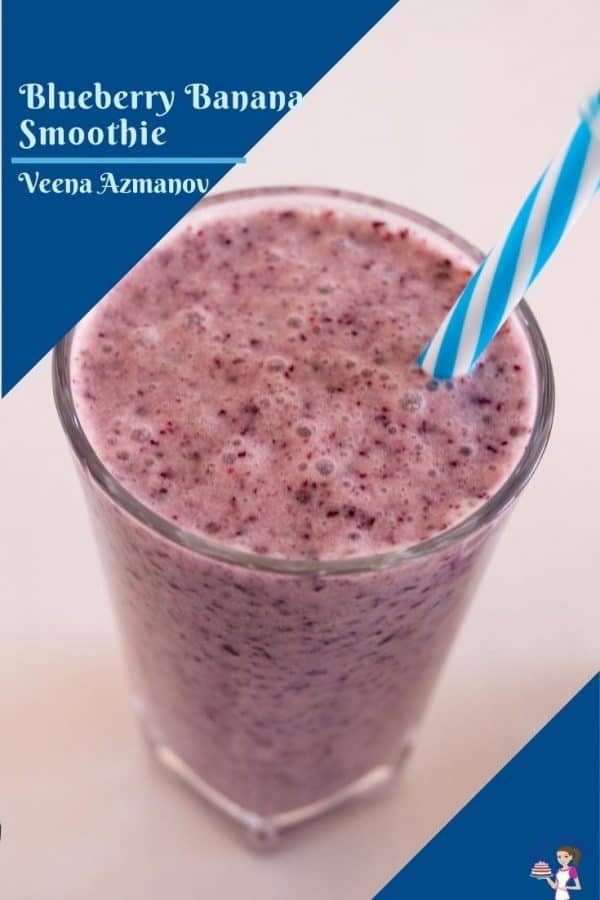A pinterest image for blueberry smoothies
