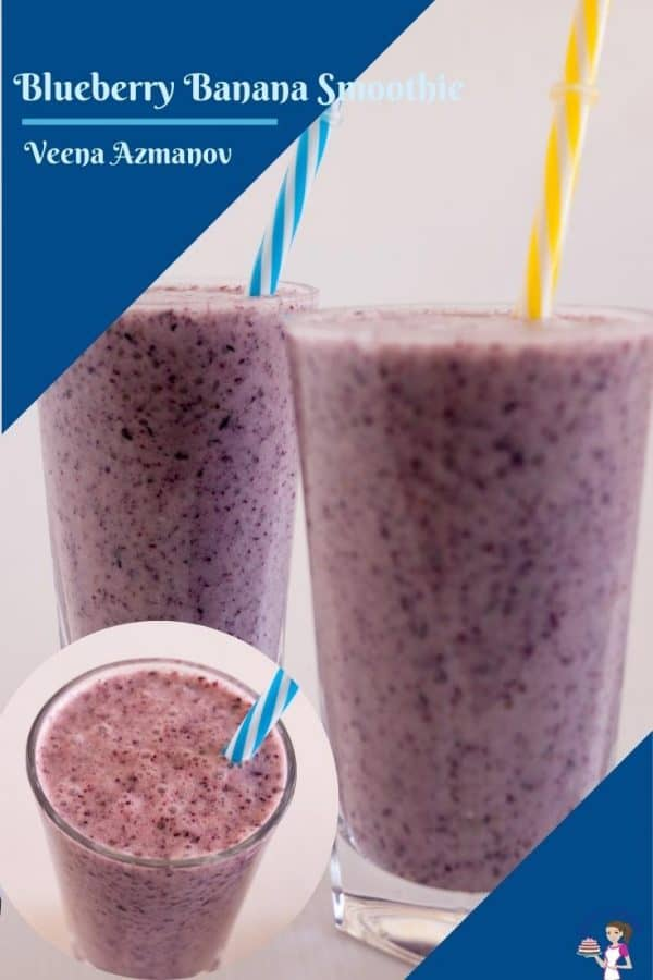 Two glasses of blueberry banana smoothie.