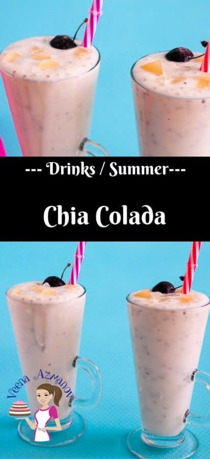 A beautiful twist and variation on the classic Pina Colada with the addition of chia seeds hence chia colada. A refreshing combination of crushed pineapple, coconut cream and honey perfect for a hot summer day.