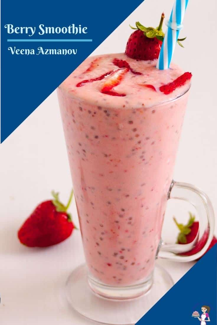 A berry smoothie in a tall glass.