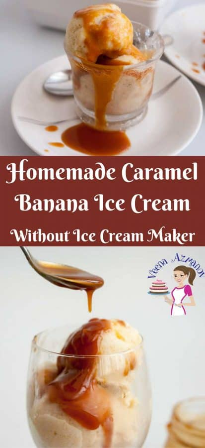 Make summer more nutritious and fun with homemade treats such as this homemade caramel banana ice cream served with more caramel drizzled all over. Bananas are naturally sweet so the only sugar you add is in the caramel.