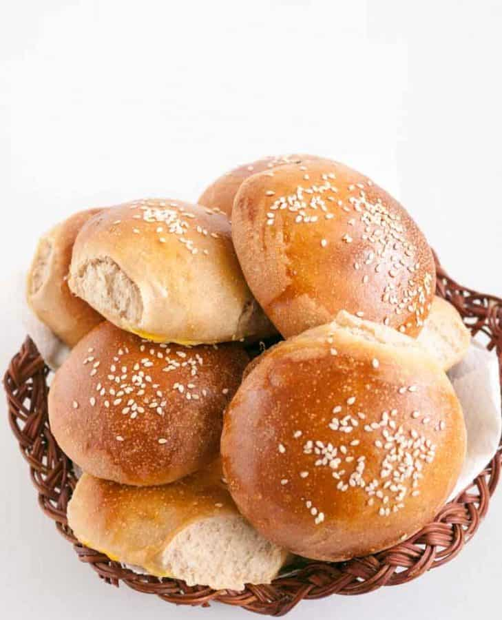 homemade soft whole wheat burger buns hamburger buns veena azmanov. Black Bedroom Furniture Sets. Home Design Ideas