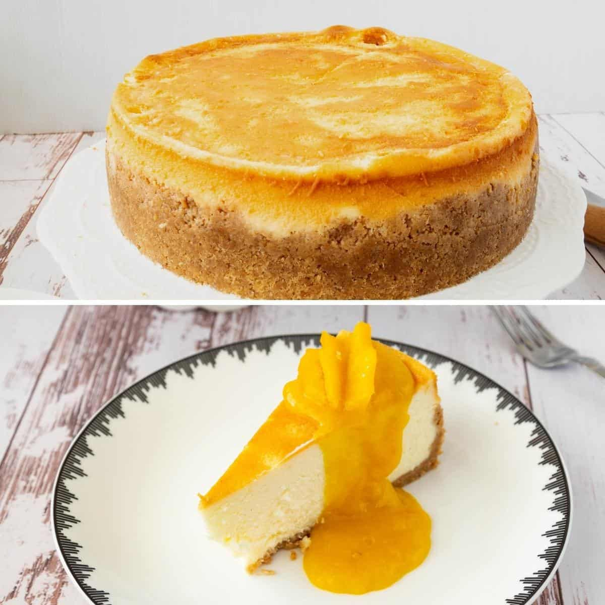 Progress pictures collage for mango cheesecake.