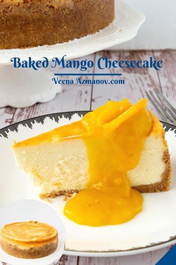 Pinterest image for mango cheesecakes.