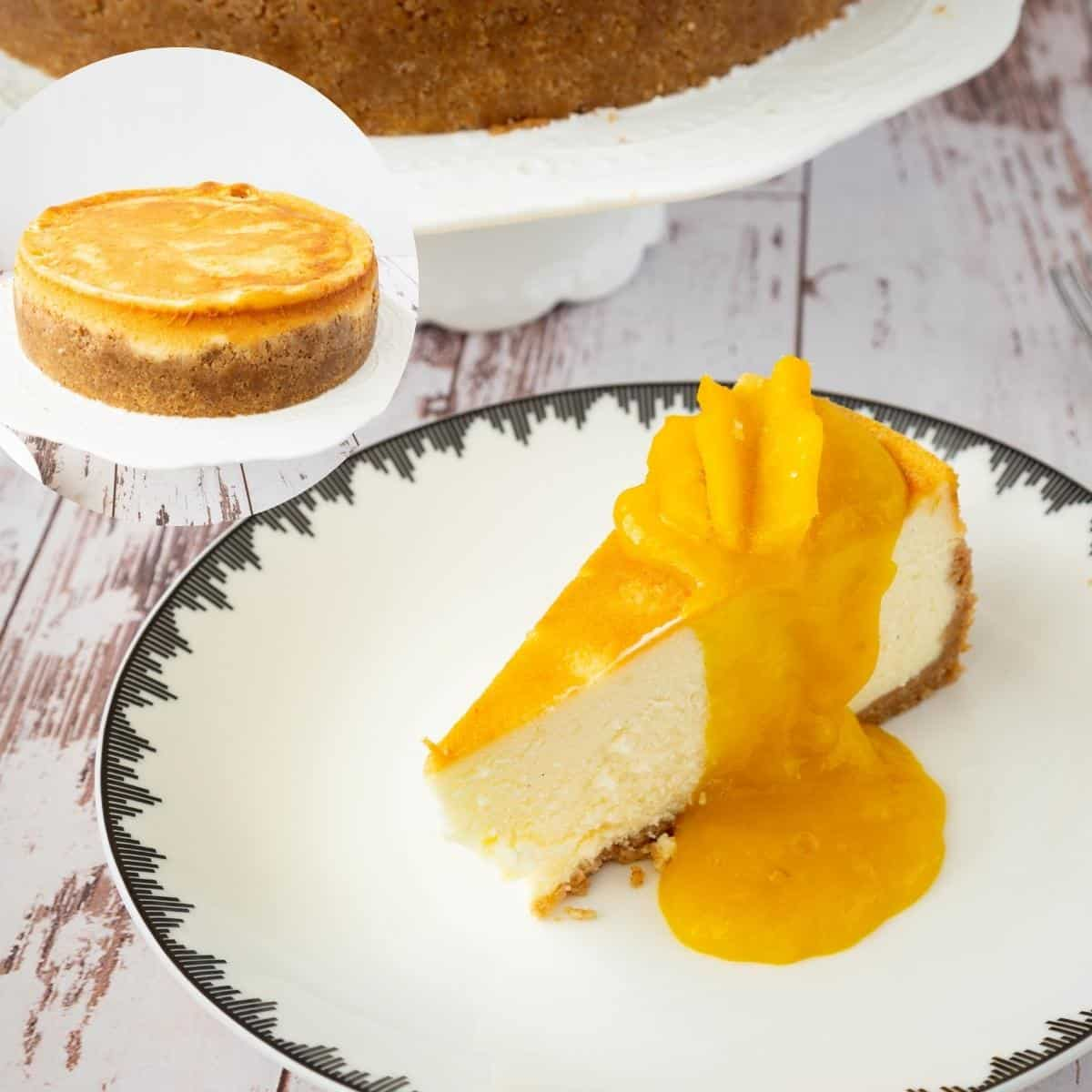 A sliced of cheesecake with mango filling.