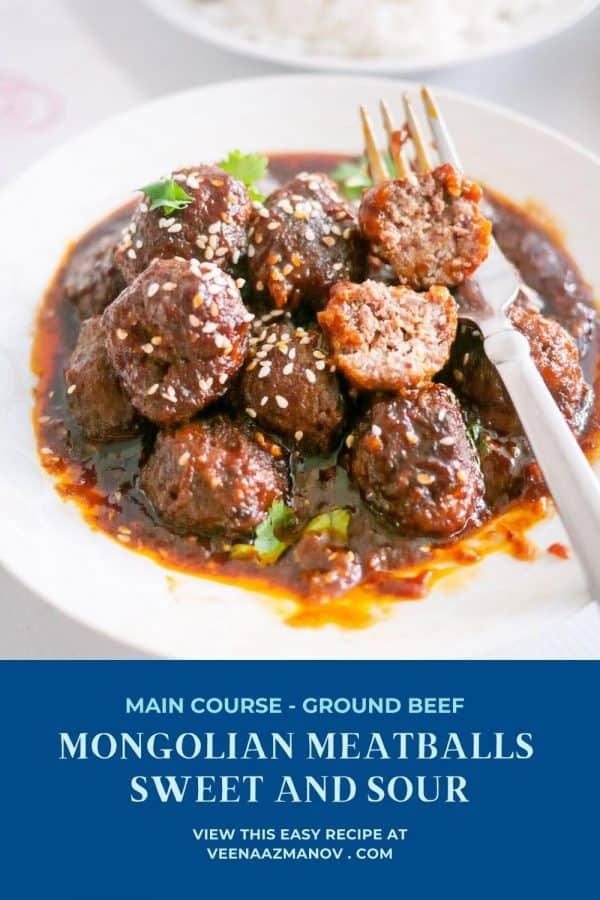 Pinterest image for Mongolian meatballs.
