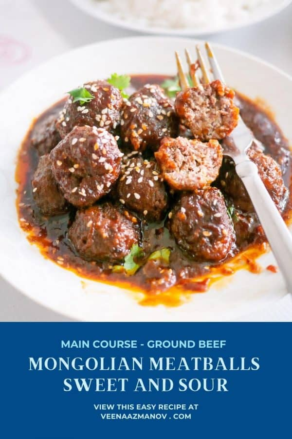 Pinterest image for sweet and Sour Meatballs.