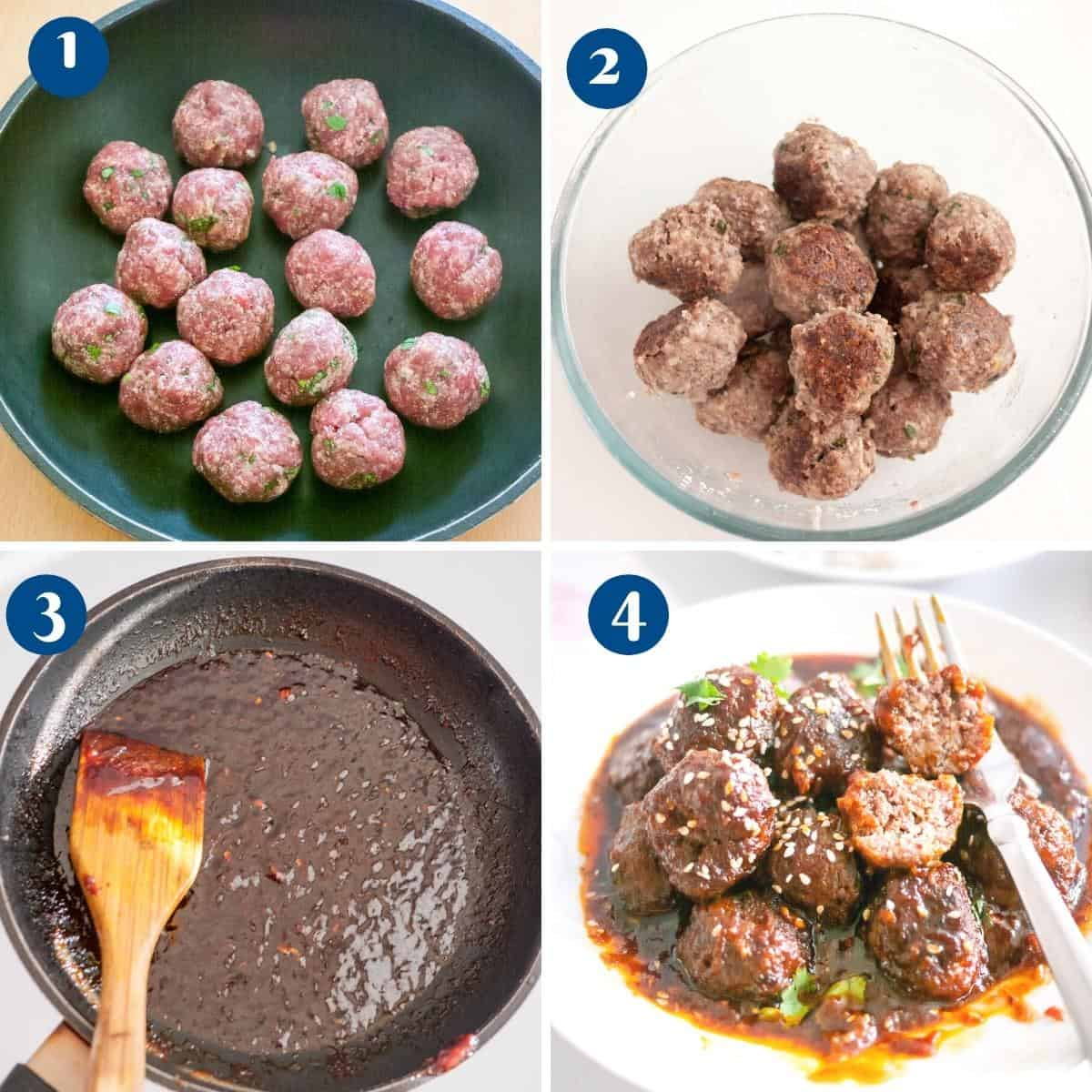Progress pictures collage making the Mongolian Meatballs.
