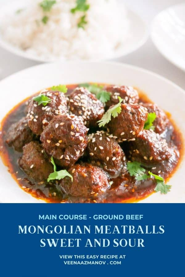 Pinterest image for Mongolian Sweet and Sour Meatballs.