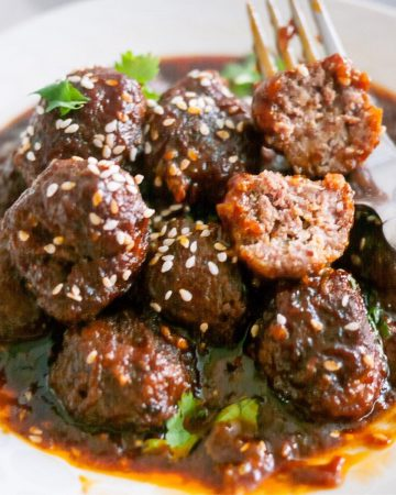 Mongolian meatballs in a bowl.