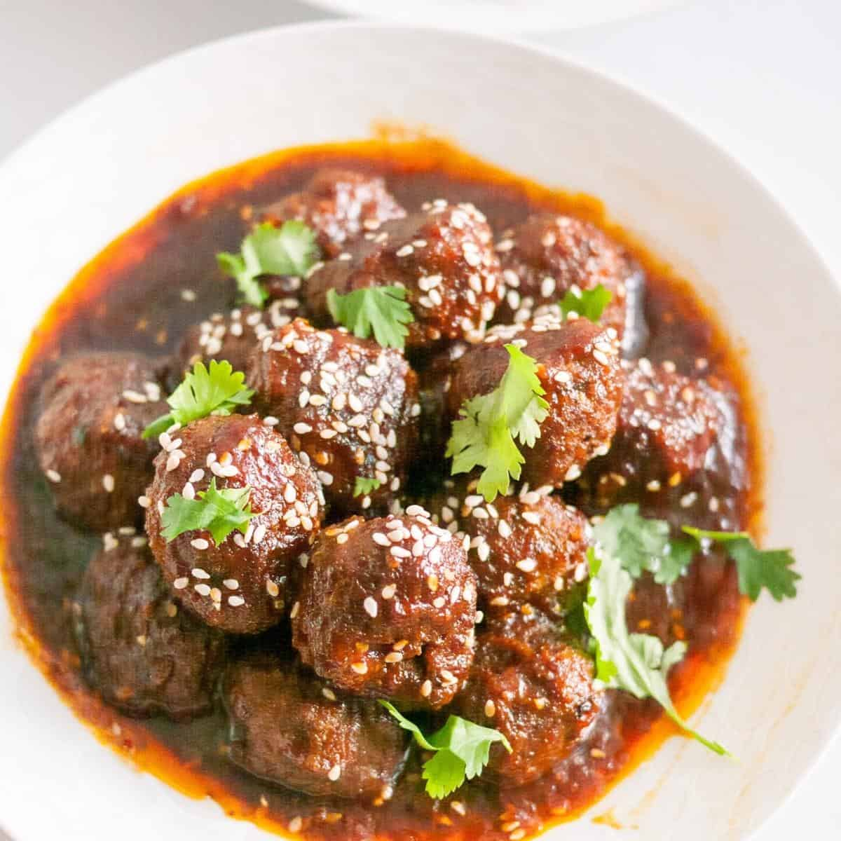 Mongolian meatballs in a bowl.
