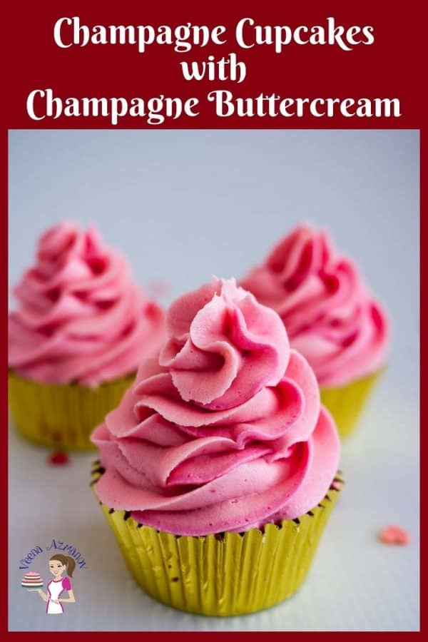 A display of pretty decorated pink cupcakes flavored with champagne reduction