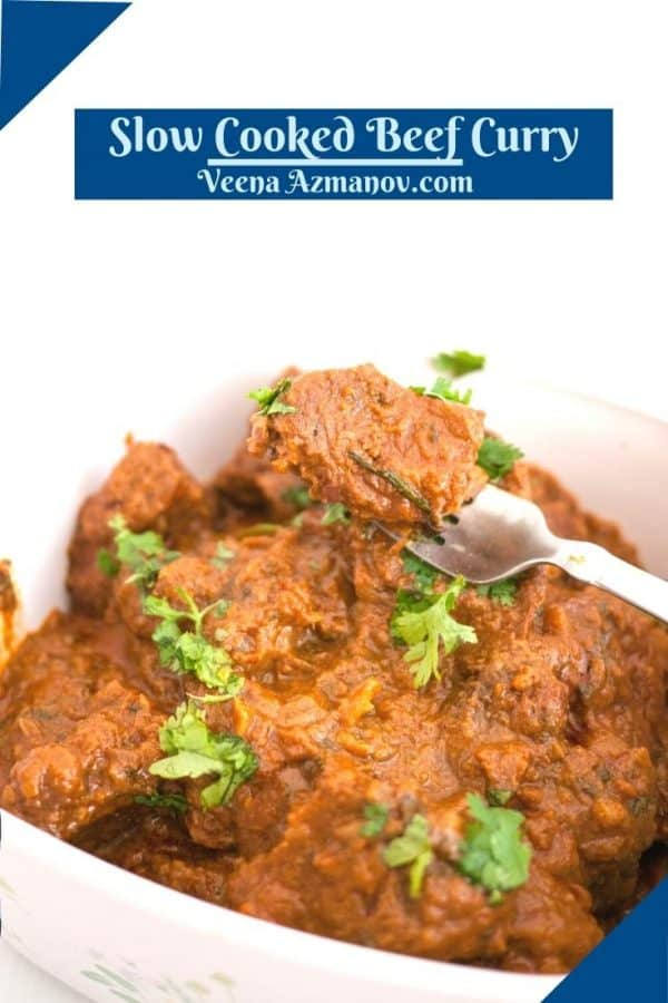 Pinterest image for beef curry slow cooked.