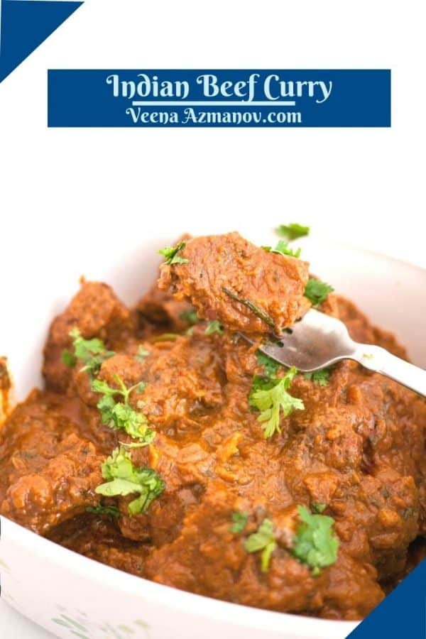 Pinterest image for slow cooked beef curry.