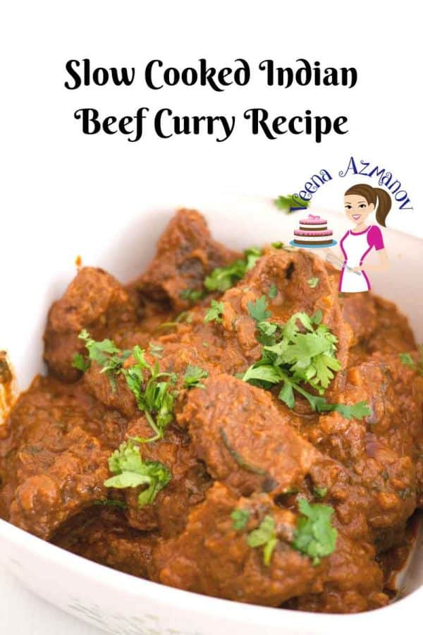 Social Media Optimized Image for Slow Cooked Indian Beef Curry Recipe aka Slow Cooker Beef Curry made with authentic Indian Spices