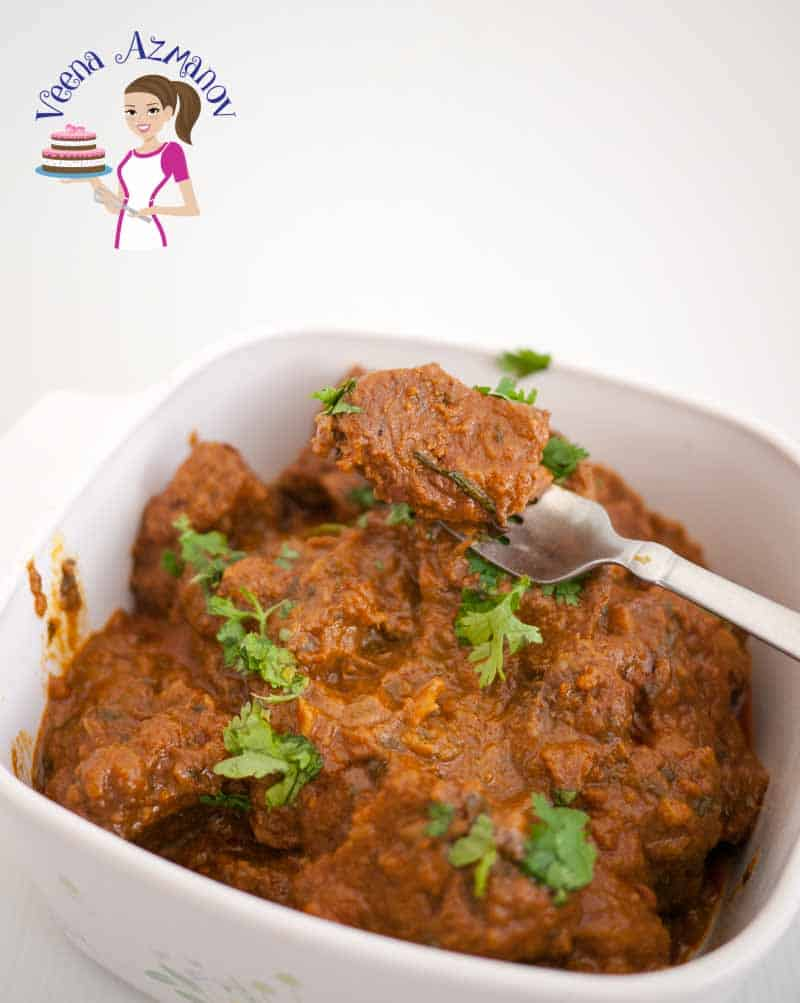 Social Media Optimized Image for Slow Cooked Indian Beef Curry Recipe aka Slow Cooker Beef Curry made with authentic Indian Spices.