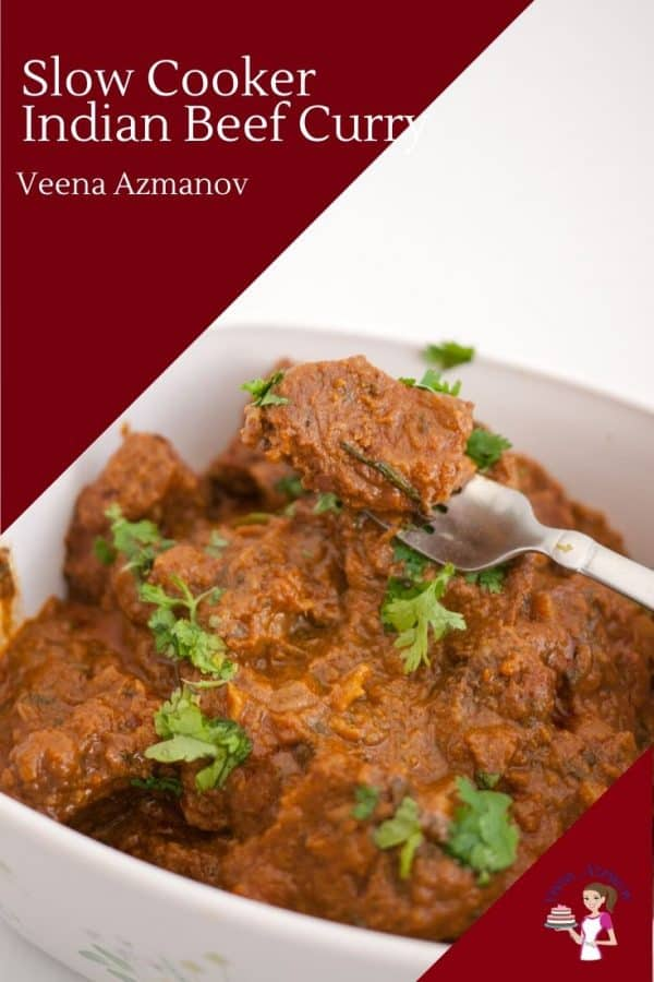 Indian curry with beef cooked in a yogurt sauce with a slow cooker or stovetop