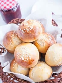 These homemade soft milky buns are so soft sweet and milky they almost melt in the mouth. You can eat them on their own or serve them along side butter and jam. It's best to make more as these go down a treat.