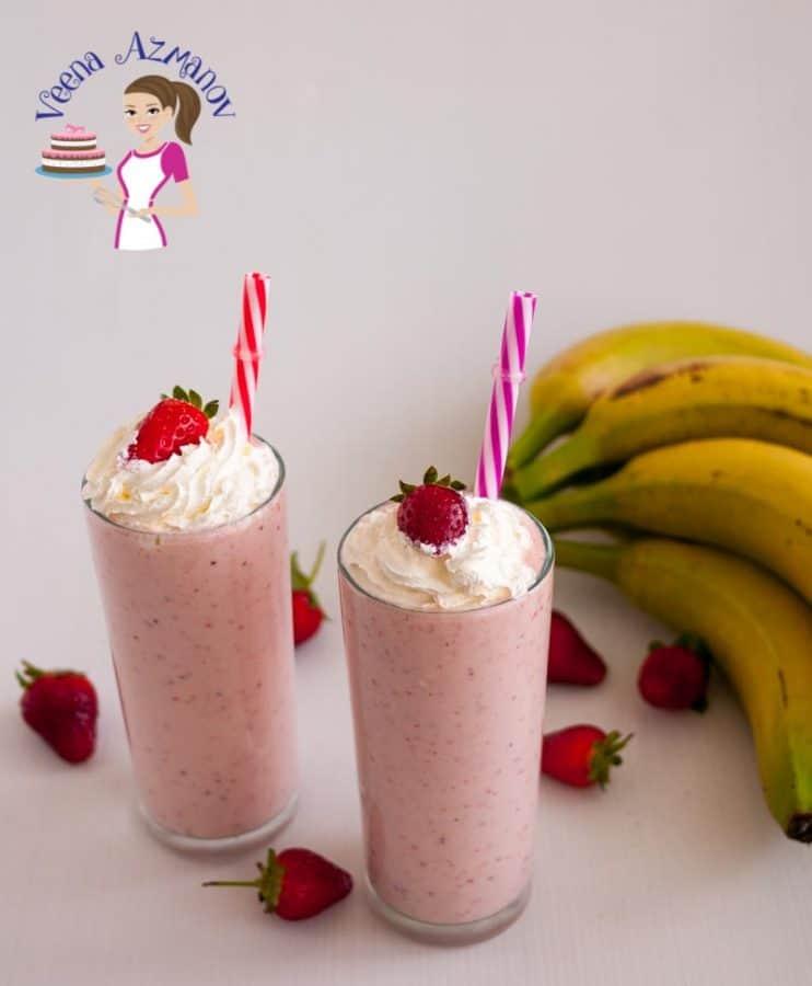 Strawberry Banana Milkshake - Veena Azmanov