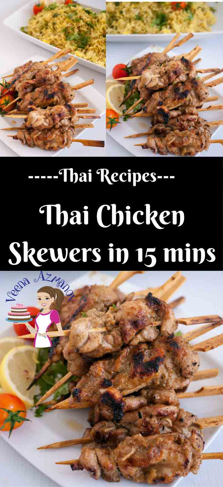 Busy weekday cooking has got to be easy simple and quick. These Thai chicken skewers will bring dinner on the table in 15 minutes. The skewers take less then 10 minutes to prepare and cook. You can serve these over rice, a bowl of noodle or in a wrap with your favorite salad.