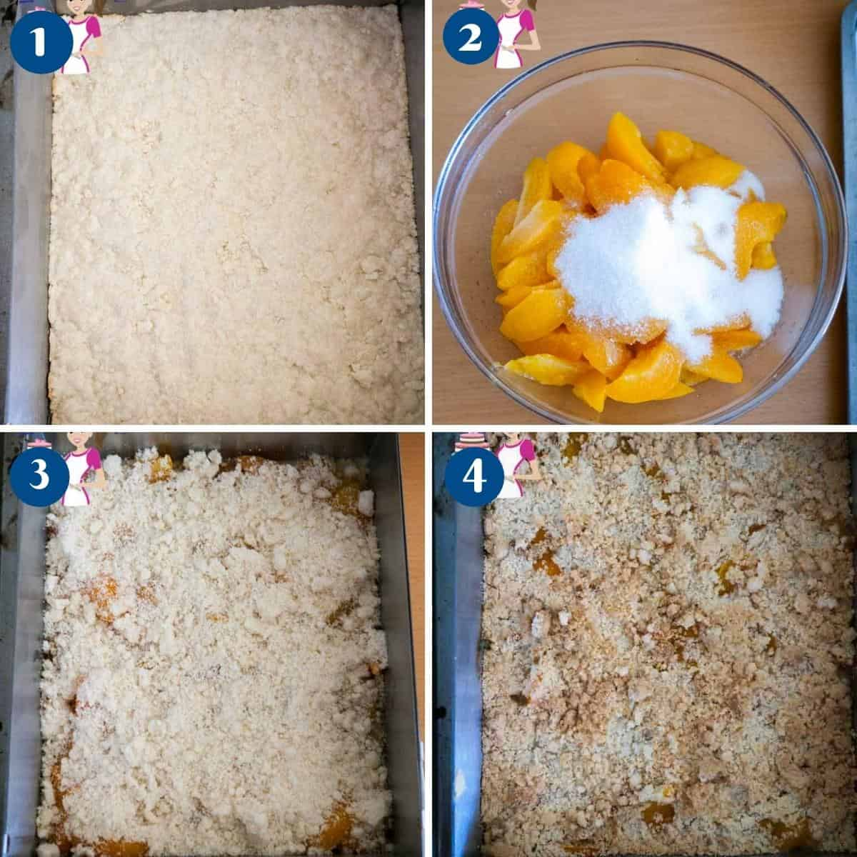 Progress pictures collage for apricot bars.