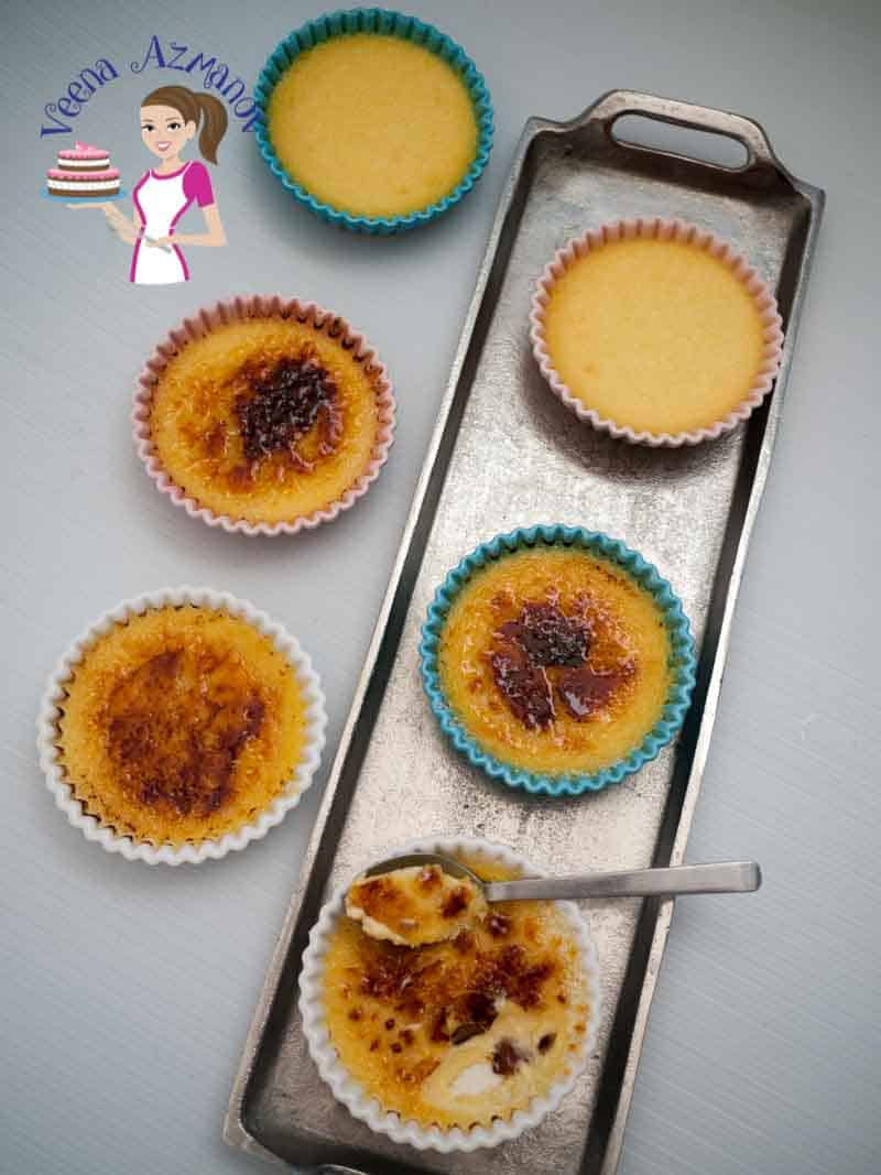 Apricot Creme Brulee - A Pinterest Optimized image for Apricot Creme Brûlée - a twist on the classic Creme Brûlée recipe featuring individual servings of creamy custard some with and some without the caramel glass.