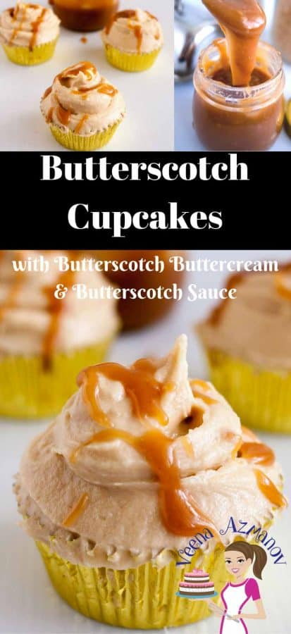 These moist butterscotch cupcakes get their unique flavor from brown sugar. Served with a dollop of soft butterscotch buttercream and drizzled with soft creamy butterscotch sauce for that ultimate luxury.