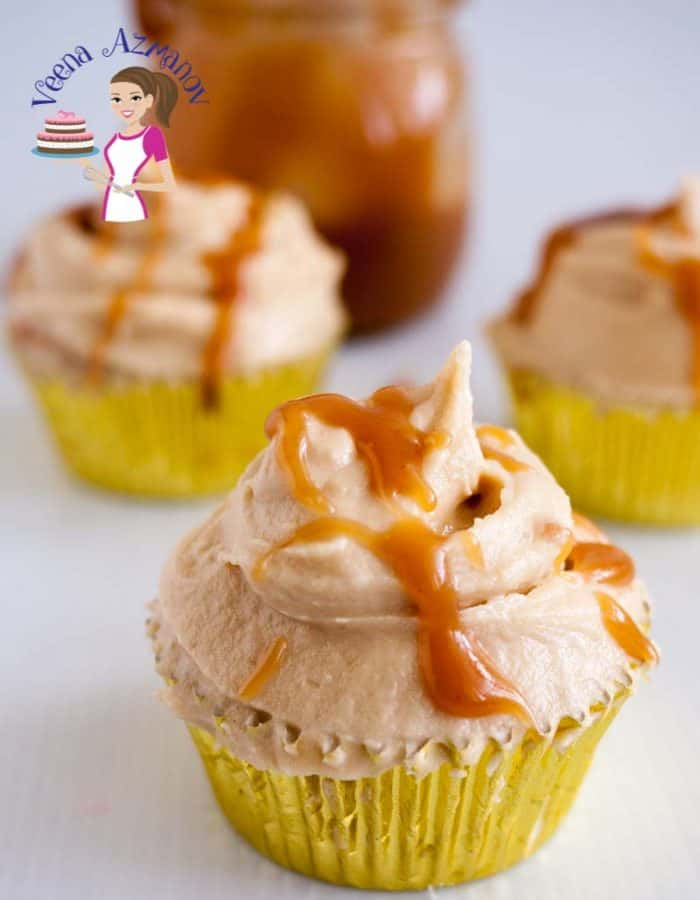Cupcakes with butterscotch frosting.