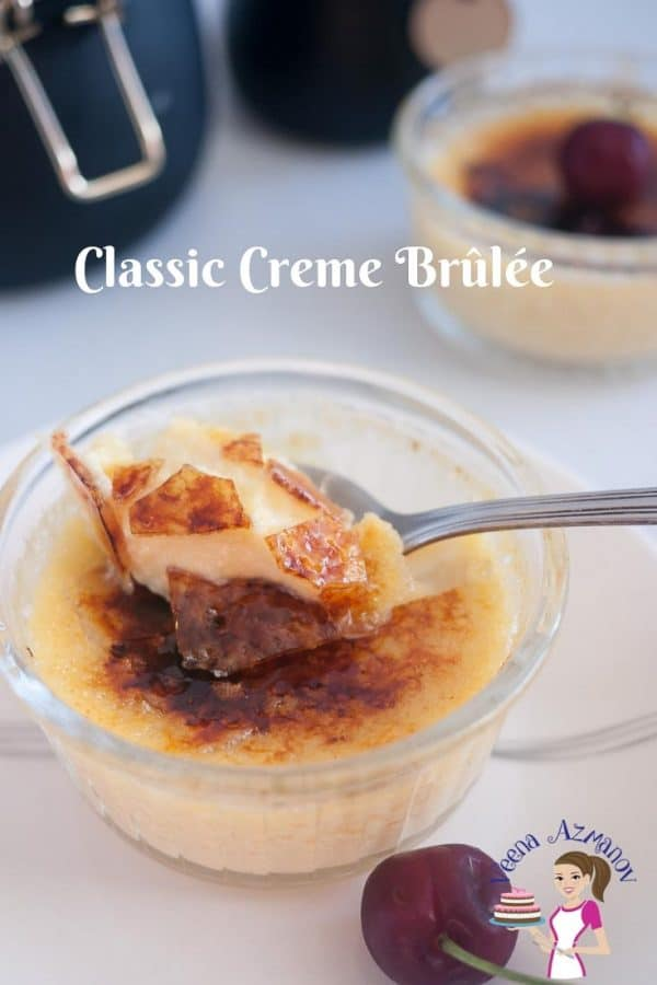 Nothing beats a classic dessert such as this Classic Creme Brûlée. A creamy rich custard based dessert baked in a water bath then topped with a layer of hard caramel. Looks impressive and exotic but truly very simple and easy to make.