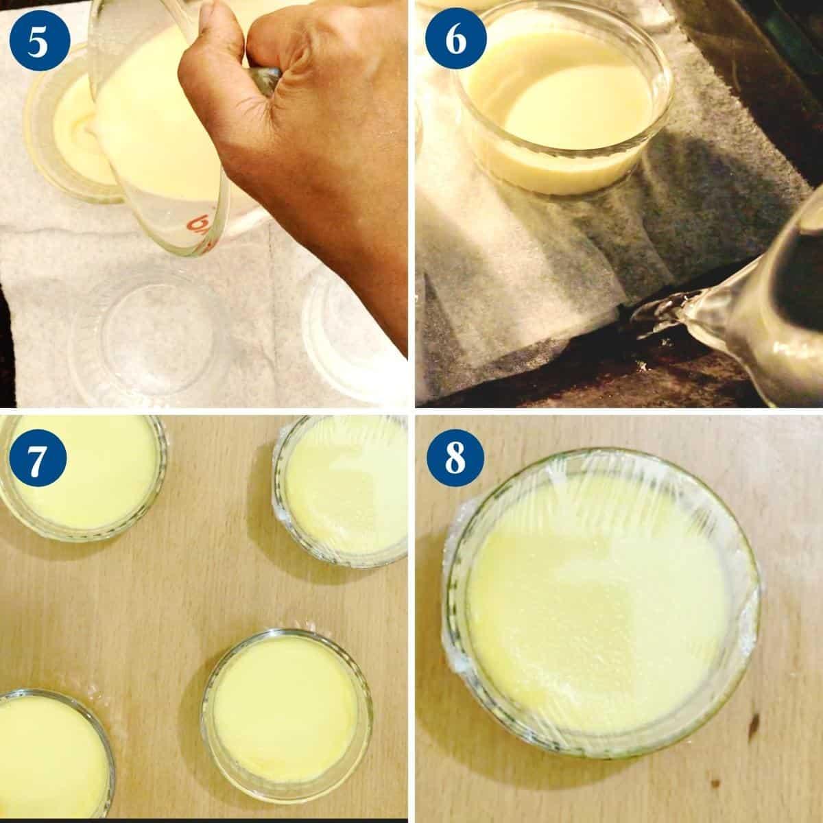 Progress pictures for baking brulee dessert.