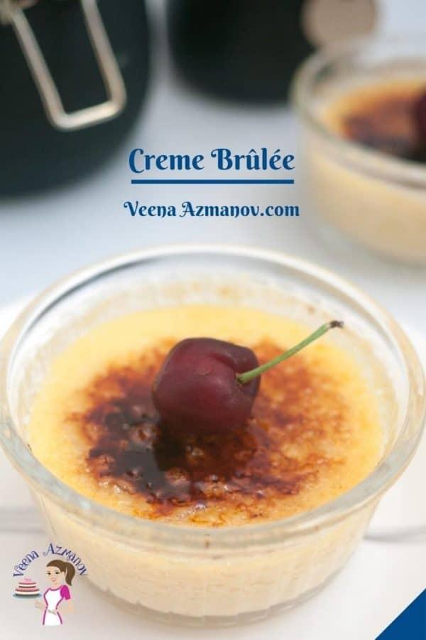 Pinterest image for baked creme brulee.