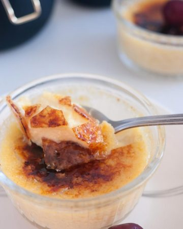 A ramekin with baked Creme Brulee.