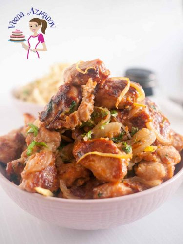 This ginger chicken is a quick stir fry with a taste and flavor of earthy ginger over crisp pan fried chicken coated in a sweet tangy sauce. Enjoy it as a main dish with rice or noodles or as a side just on it's own.