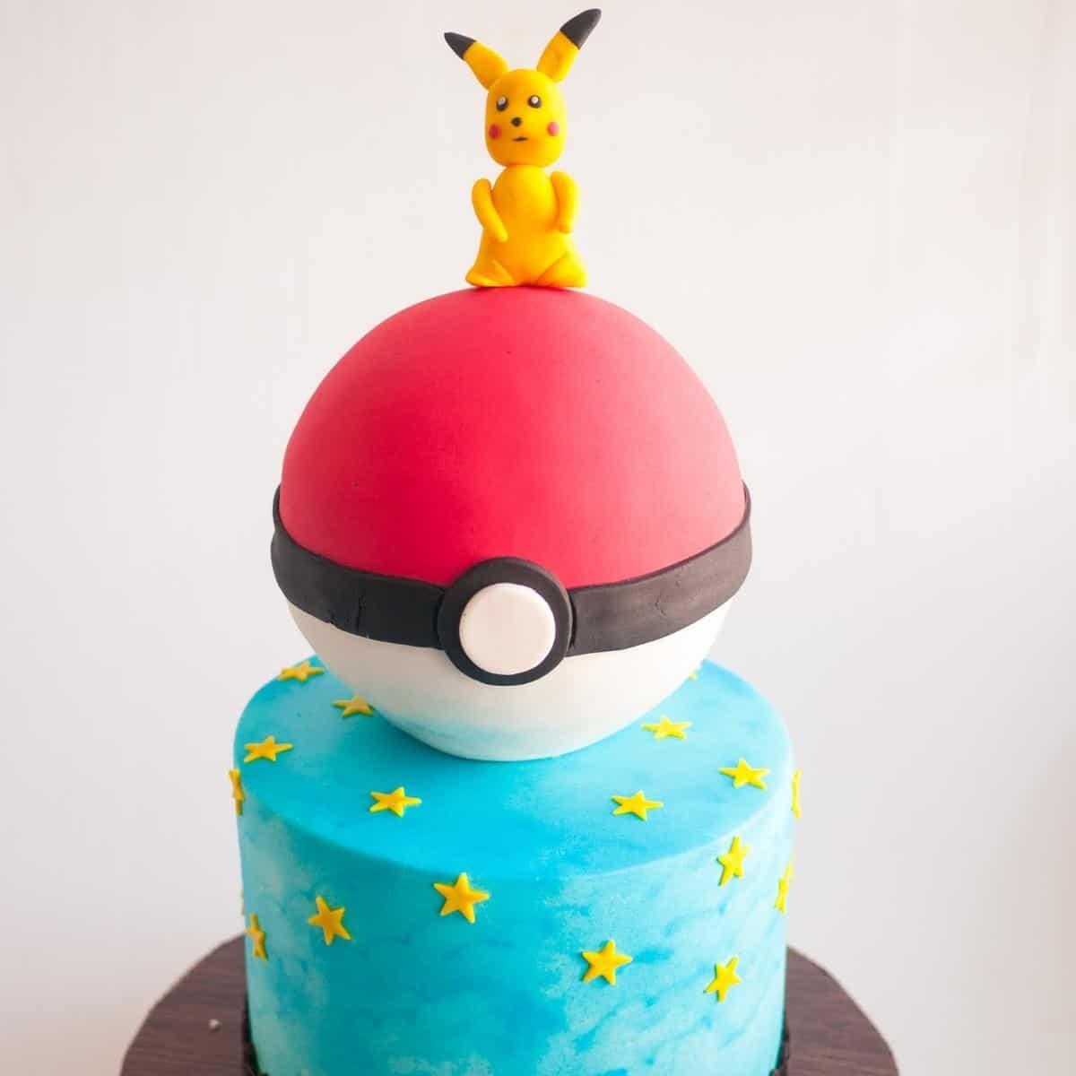 A Pikachu cake covered in fondant.