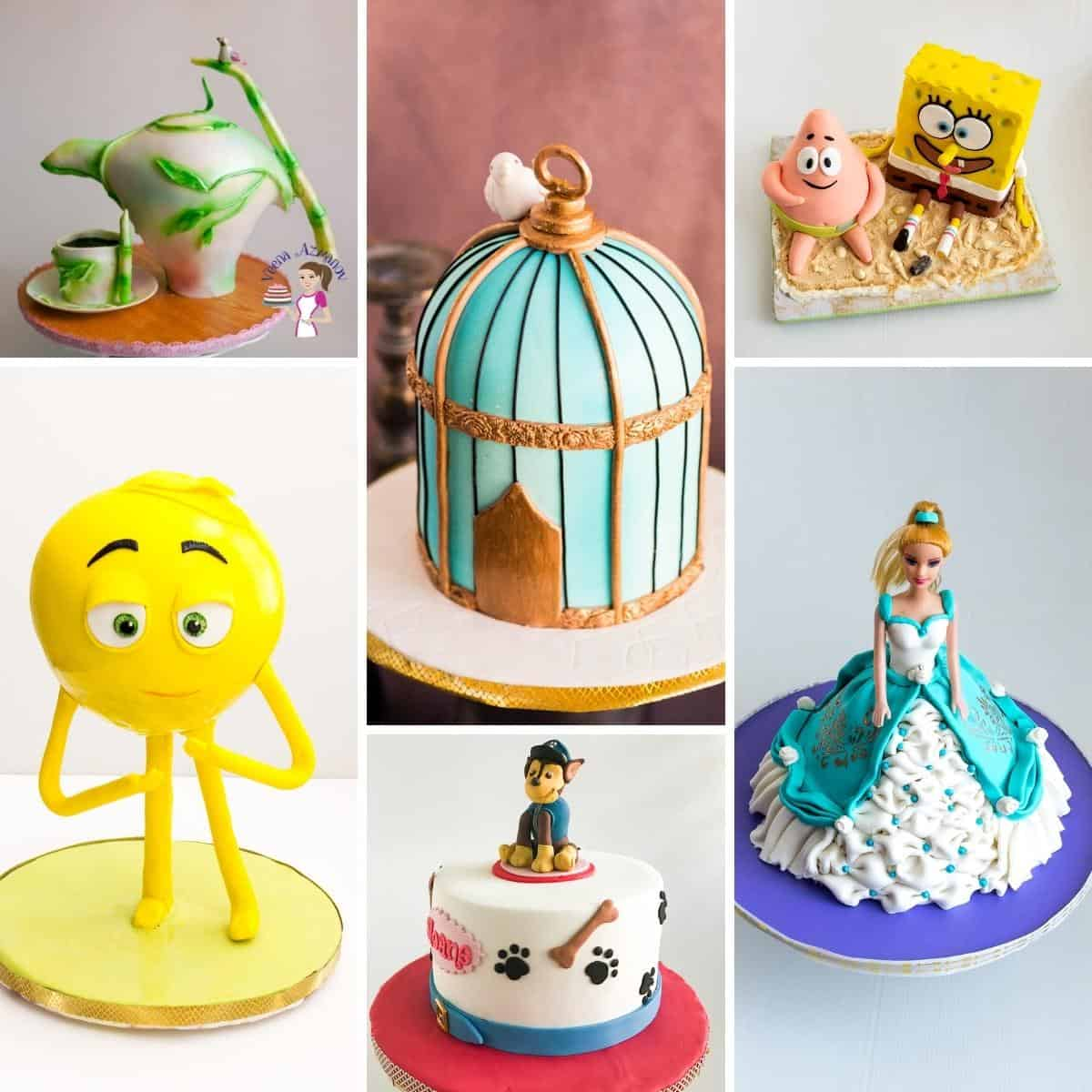 Collage with decorated fondant cakes