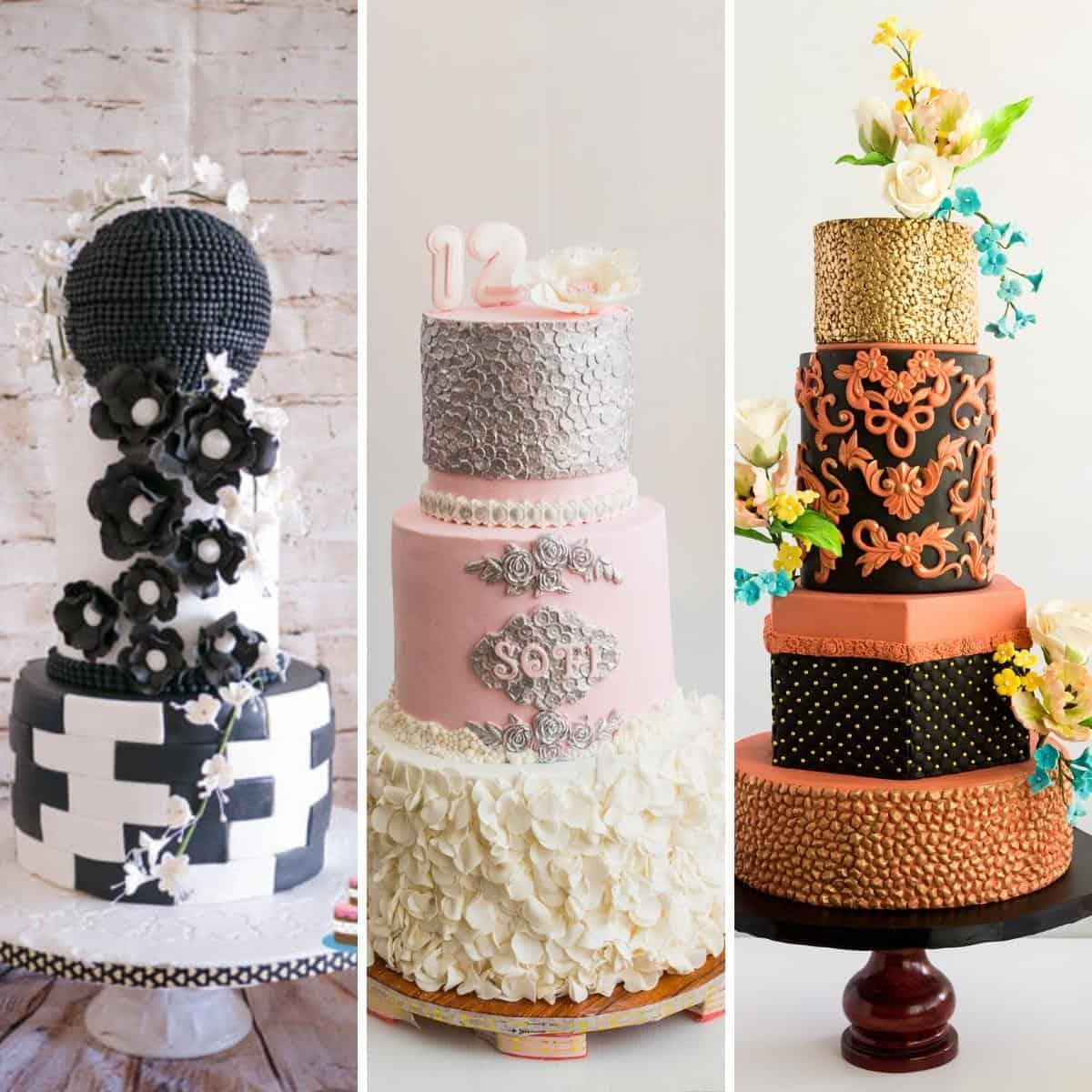 Collage with decorated fondant cakes.