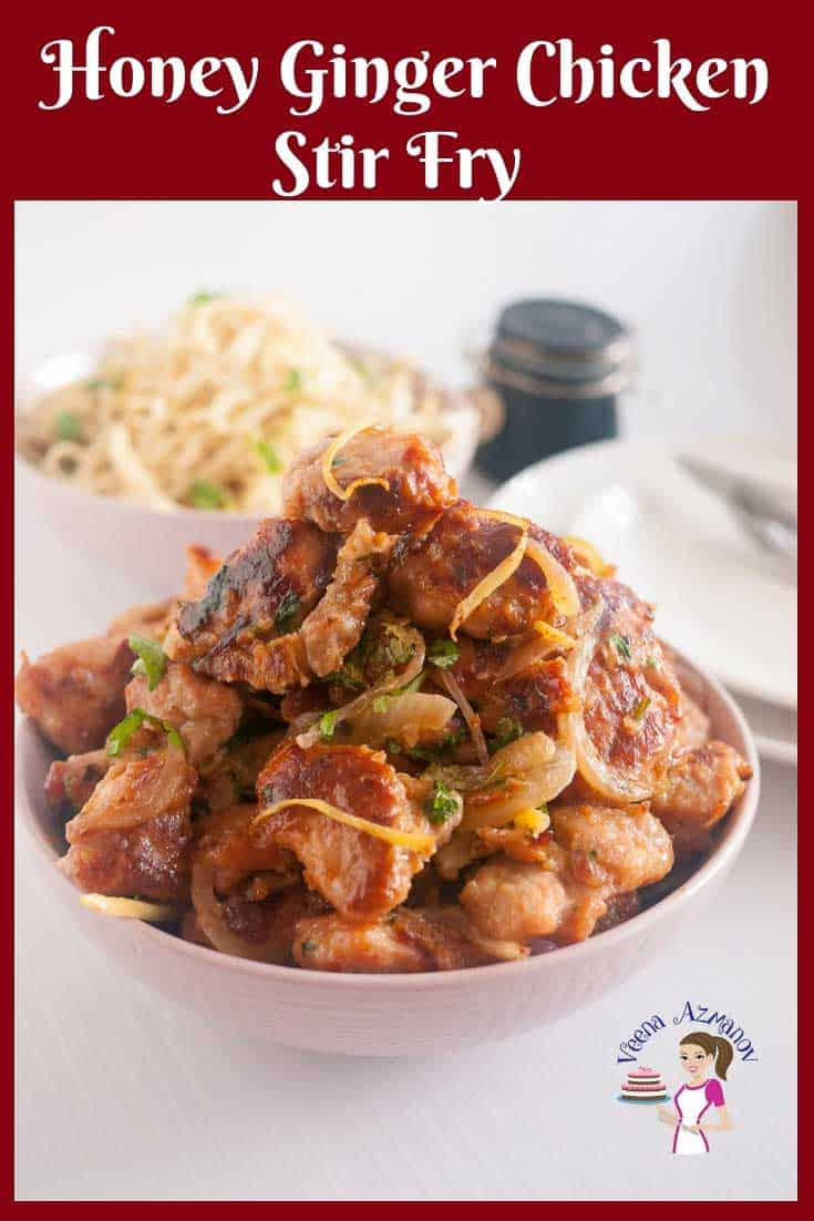 An Asian Stir-Fry Recipe with Crips Chicken, Sliced ginger, Honey Soy sauce and noodles