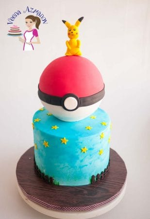 Pokemon Cake with Pikachu Cake Topper