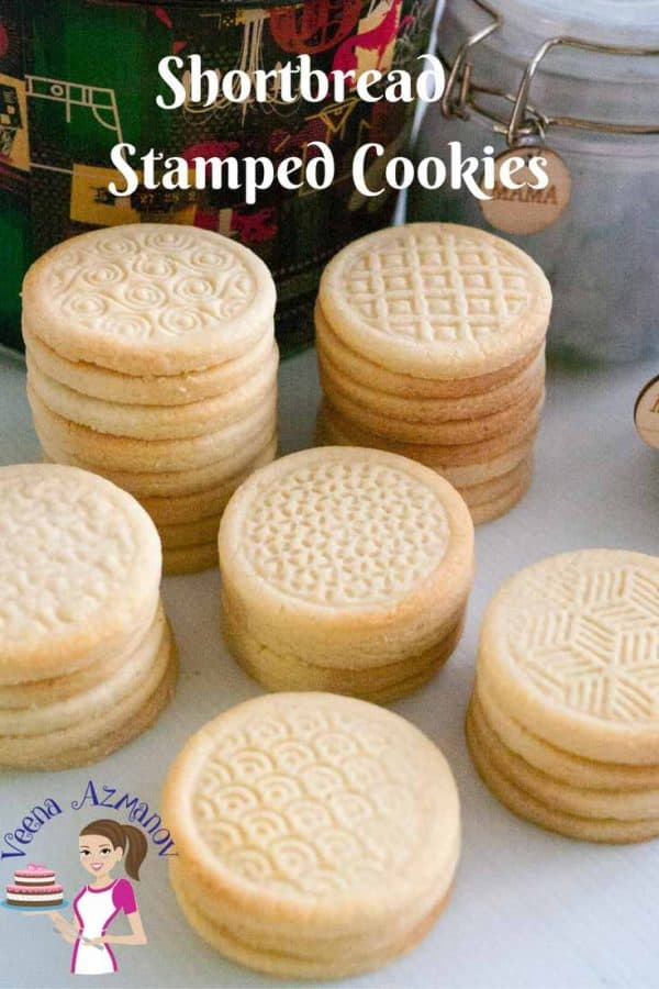 Stacks of shortbread cookies on a table.