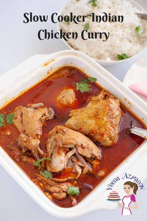 This slow cooker Indian chicken curry recipe aka crock pot chicken curry is a simple, easy and effortless recipe with only ten minutes of hands-on work and a few hours unsupervised slow cooking. This beautiful deep red curry is flavored with exotic Indian spices and can be served over a bowl of rice or just simple crusty bread.