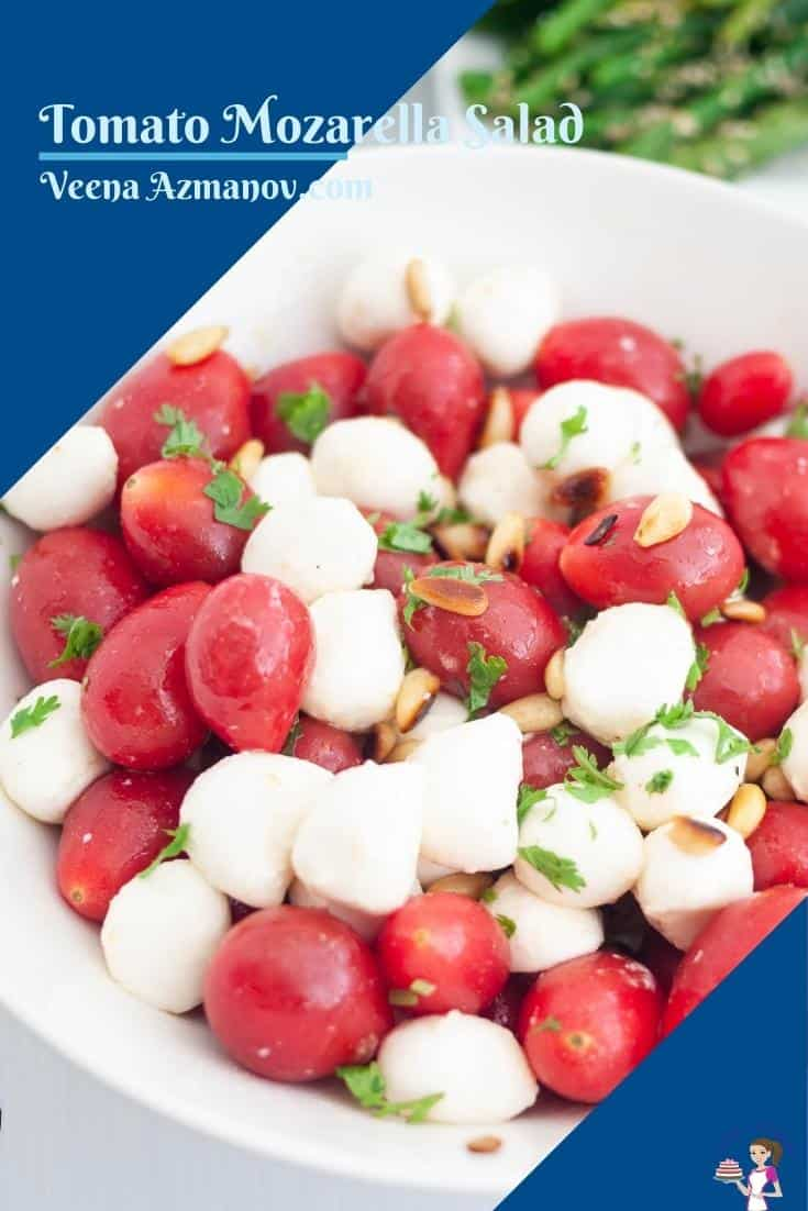 Pinterest image for mozzarella salad and tomatoes