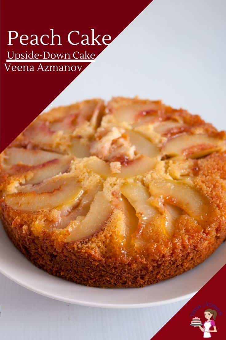 Summer brings stone-fruit in abundance. This peach upside down cake is a must try in summer. Made with my one bowl vanilla cake batter as a base this recipe is simple, easy and effortless. #peaches #upsidedown #cake #recipe #stonefruit #summer via @Veenaazmanov