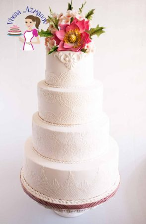Lotus inspired Lace White Wedding Cake