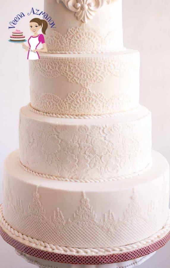 Lotus Inspired Lace White Wedding Cake Veena Azmanov