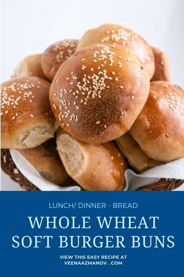 Pinterest image for burger buns with whole wheat.
