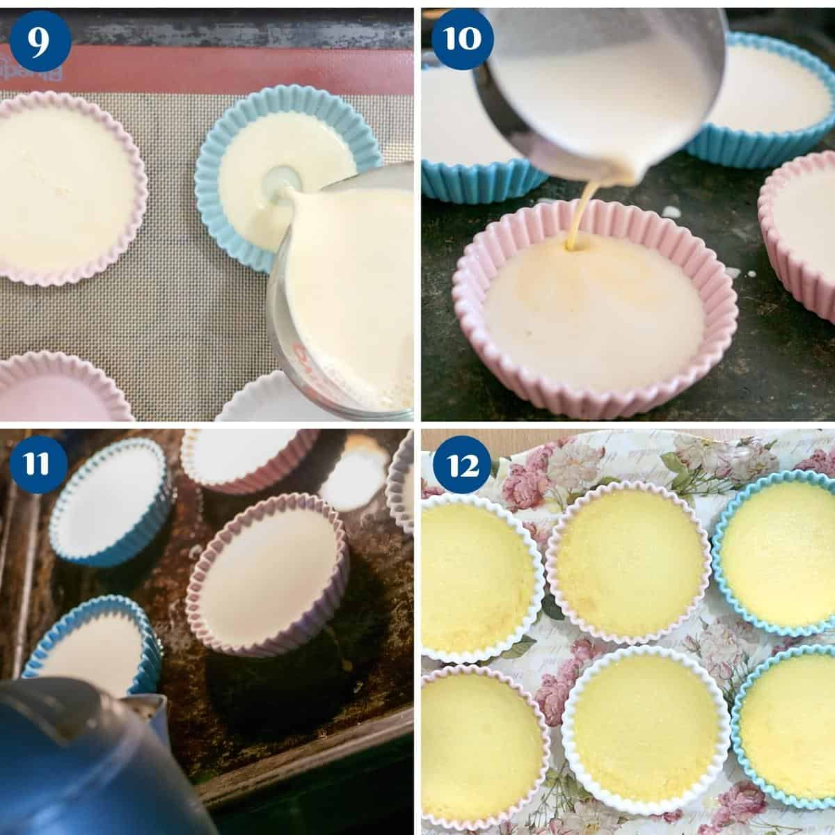 Progress pictures pouring custard in ramekins for creme brulee.