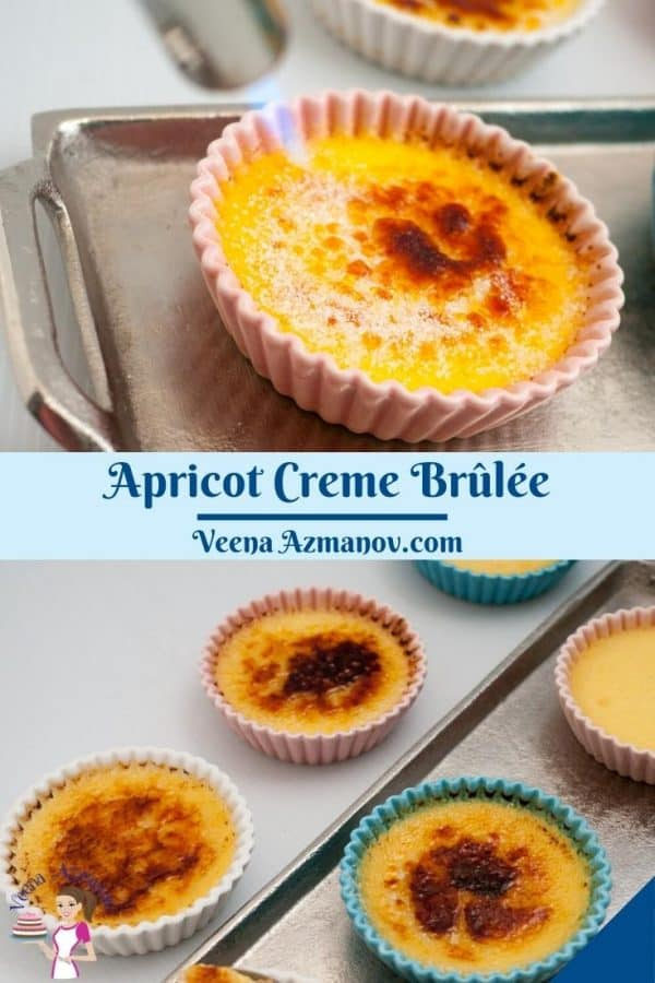 Pinterest image for creme brûlée with apricot puree.