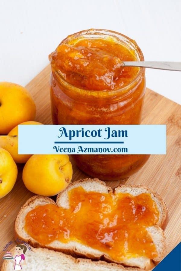 Pinterest image for apricot jam.