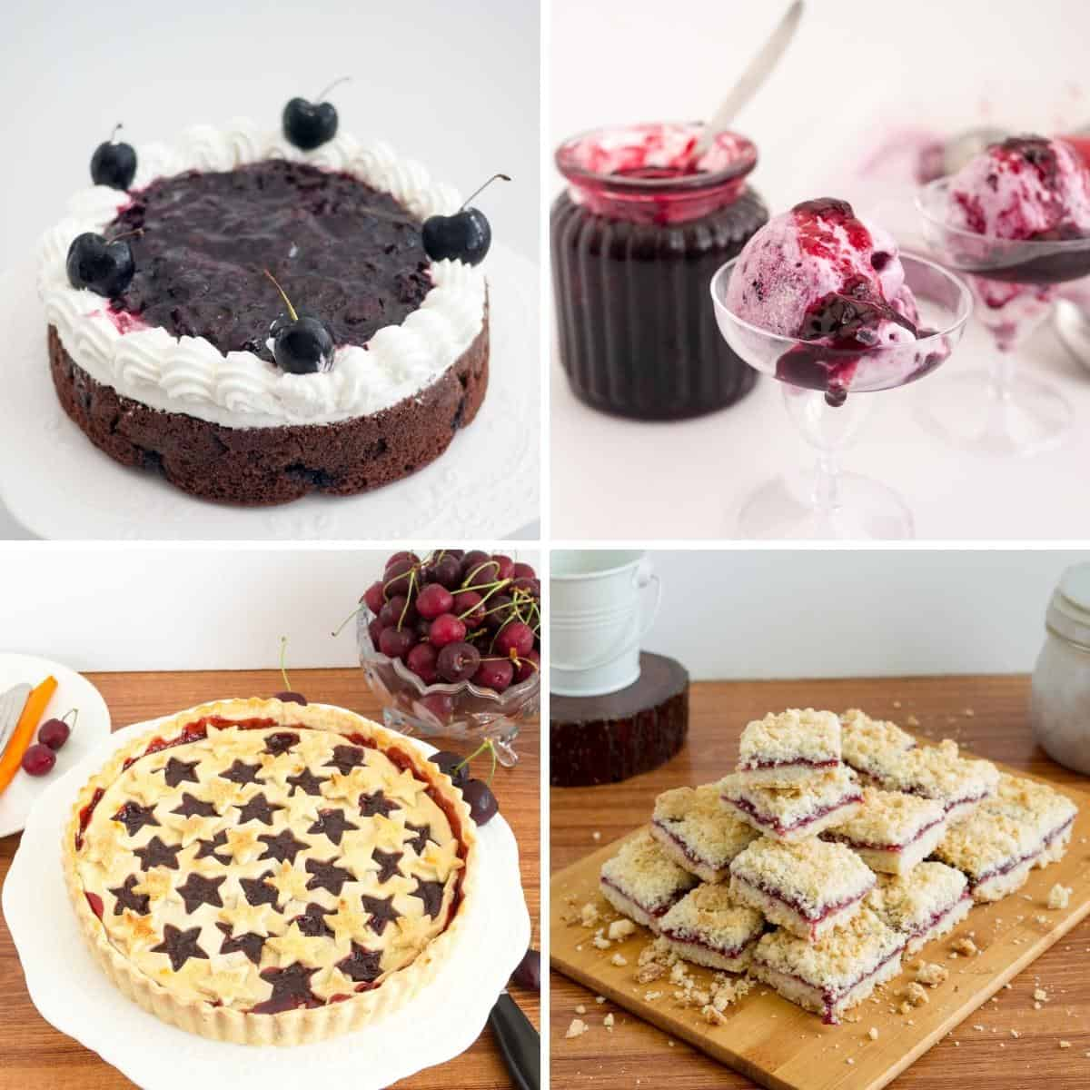 Collage of recipes using cherry filling.